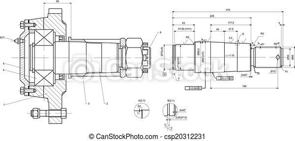 rolamento, engenharia, desenho, eixo - csp20312231