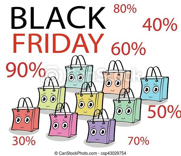 rolig, gåva, fredag, försäljning, svart, sjal, packe - csp43029754