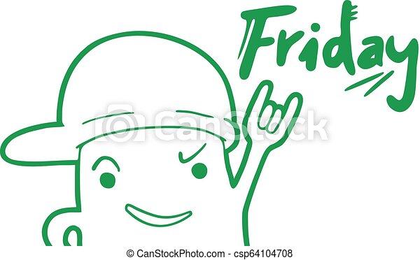 rolig, meddelande, fredag - csp64104708