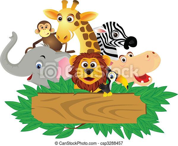 rolig, tecknad film, djur - csp3288457