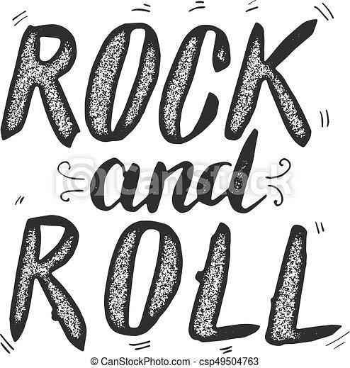 Rock And Roll Frase Dibujada A Mano Aislada En White Bac