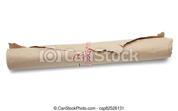 roll of brown wrapping paper tied with a red rope - csp82526131