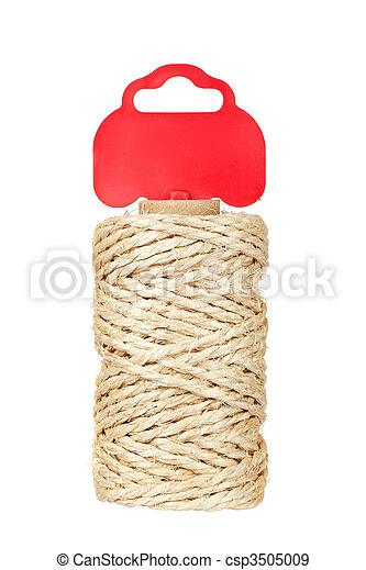 Roll of hemp rope with red tag - csp3505009