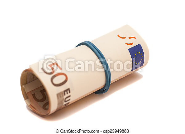 Roll of one Fifty euro banknotes with a rubber band, isolated on - csp23949883