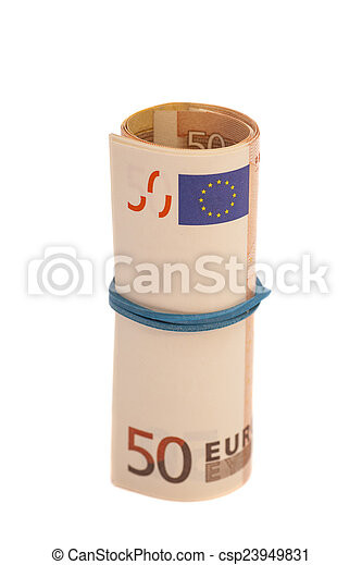 Roll of one Fifty euro banknotes with a rubber band, isolated on - csp23949831