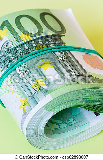 roll of one hundred euro banknotes - csp62893007
