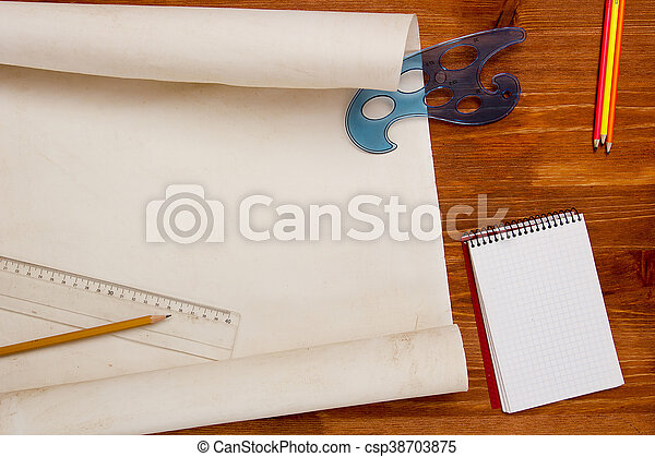 Roll of paper drawings - csp38703875