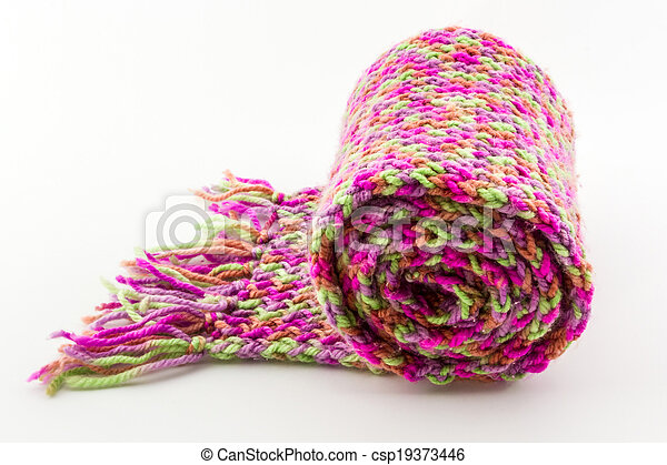 Roll of scarf colorful. - csp19373446