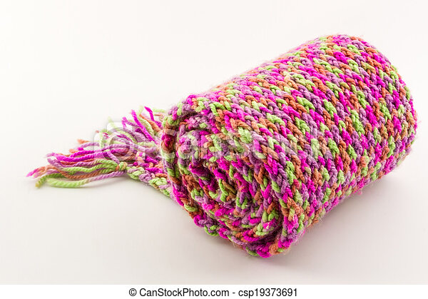 Roll of scarf colorful. - csp19373691