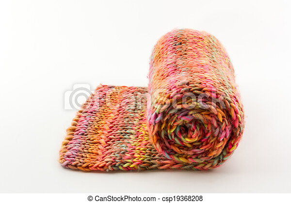 Roll of scarf colorful. - csp19368208