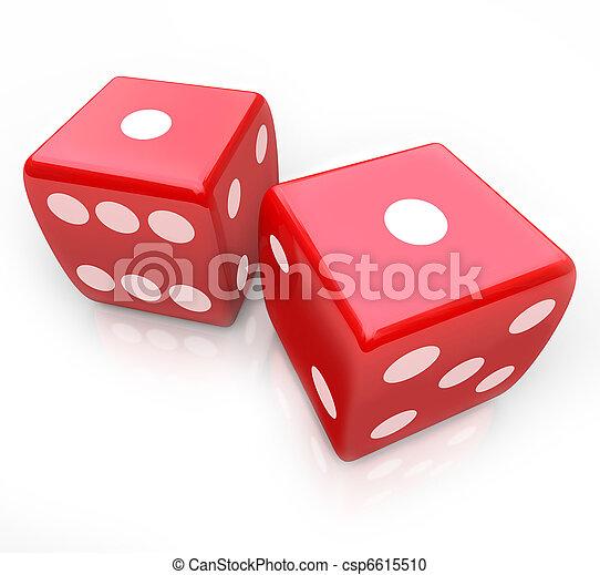 Roll the Dice - Snake Eyes in Gambling Game - csp6615510