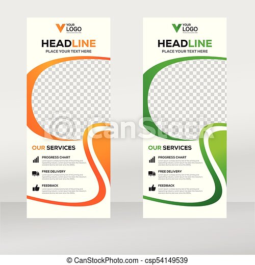 Roll up banner design template, vertical, abstract background, pull ...