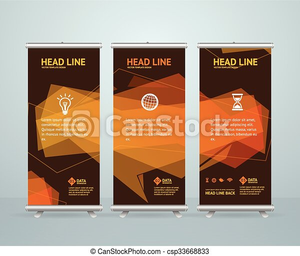 Roll up banner stand design template. vector. Roll up banner stand ...