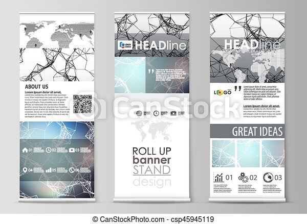 Roll up banner stands, abstract geometric design templates, vertical ...