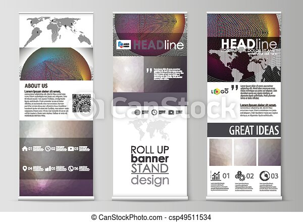 roll up banner stands flat design templates business concept