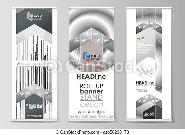Roll up banner stands, flat design templates, abstract geometric ...