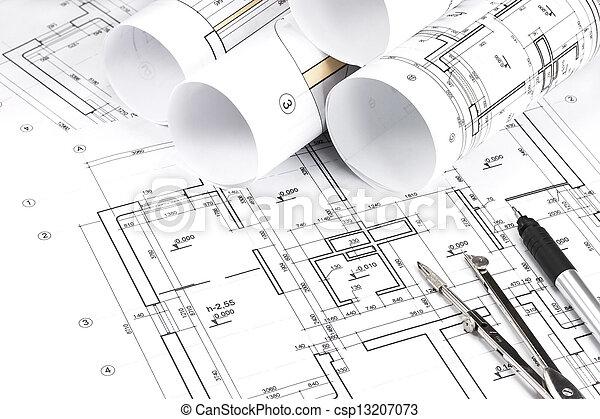 Rolled building plans blueprint floor plans with drawing picture rolled building plans csp13207073 malvernweather Images