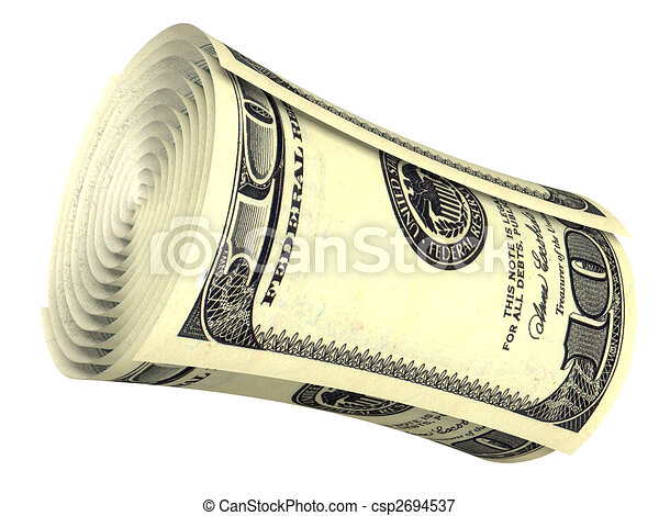 Rolled dollar banknote isolated - csp2694537