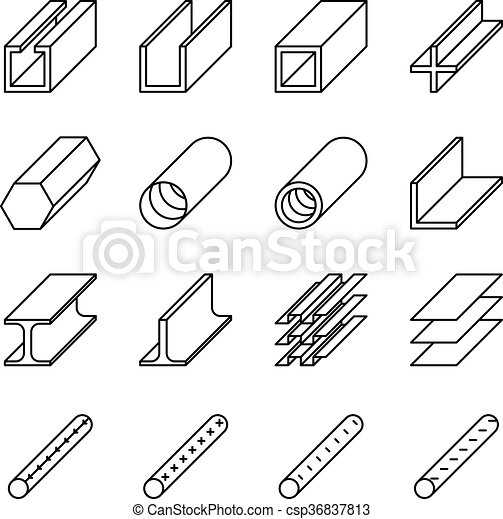 rolled metal product icons vector pictograms rolled metal product