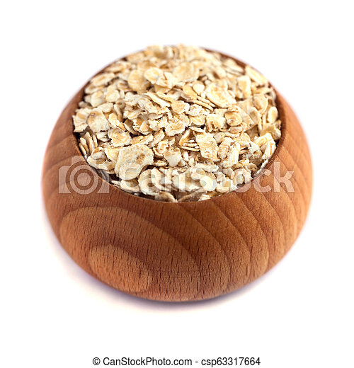 rolled oats with wooden bowl isolated on white background - csp63317664