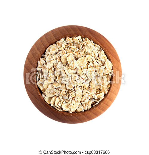 rolled oats with wooden bowl isolated on white background - csp63317666