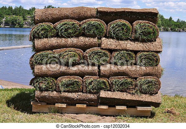 Rolled-up grass ready for planting - csp12032034