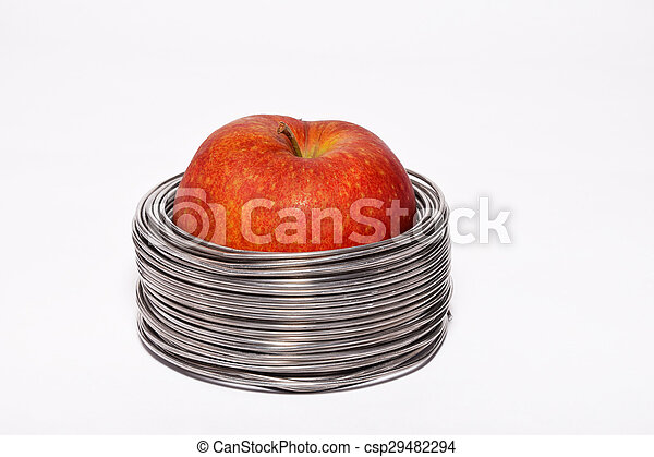 Rollen, draht, apfel, aluminium, apple:, freigestellt, verdrahtet ...