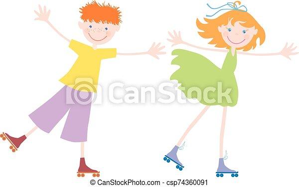 rollen, schlittschuhlaufen, heiter, kinder - csp74360091