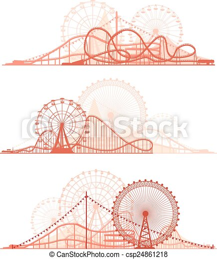 Roller-coaster and Ferris Wheel. - csp24861218