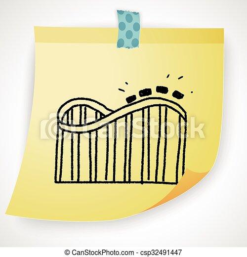 Roller coaster doodle - csp32491447