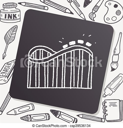 Roller coaster doodle - csp39536134
