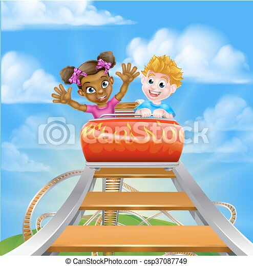 Roller Coaster Fair Theme Park - csp37087749