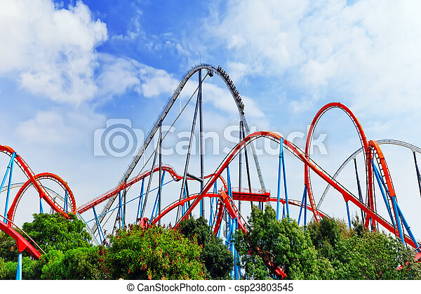 Roller Coaster in funny amusement  park - csp23803545