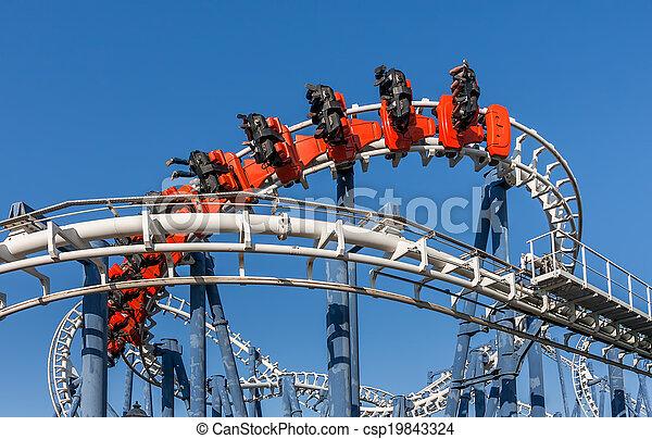 Roller coaster ride in Luna Park. - csp19843324