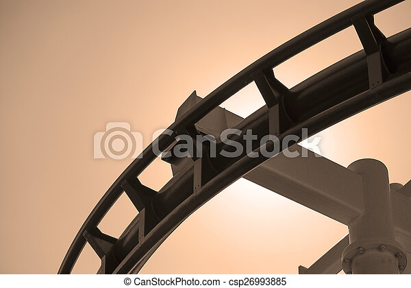 Roller coaster steel track in sepia - csp26993885
