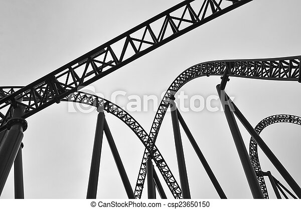 Roller coaster track construction. Abstract view of roller ...