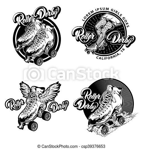 Roller Derby Monochrome Emblems - csp39376653