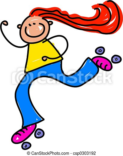 roller skate kid little girl whizzing along on roller clip art rh canstockphoto com roller skates clipart roller skates clip art black and white