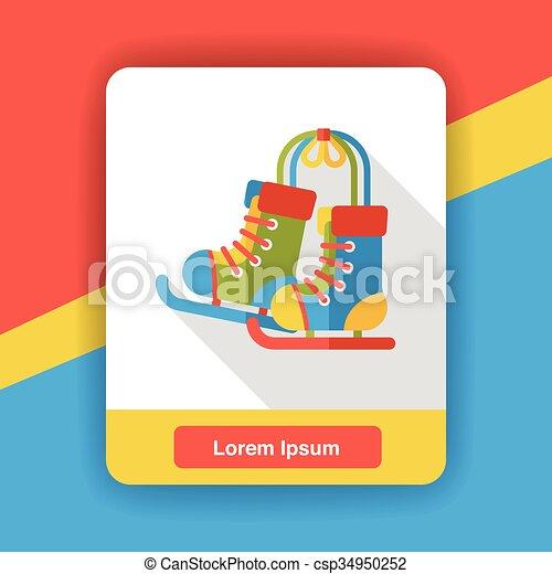 Roller skates flat icon - csp34950252