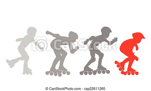 Roller skating silhouettes vector background concept - csp22611265