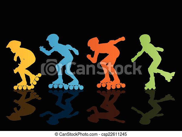 Roller skating silhouettes vector background concept - csp22611245