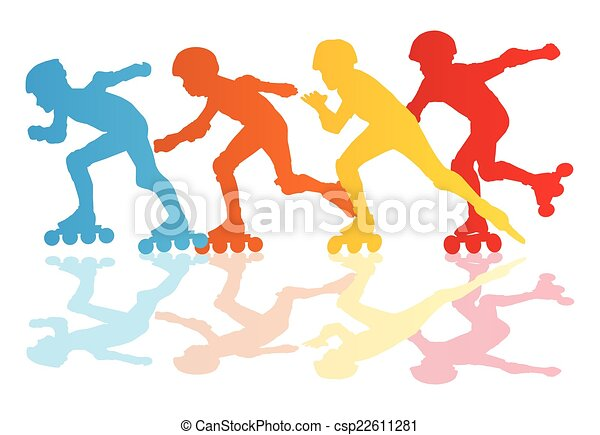 Roller skating silhouettes vector background concept - csp22611281