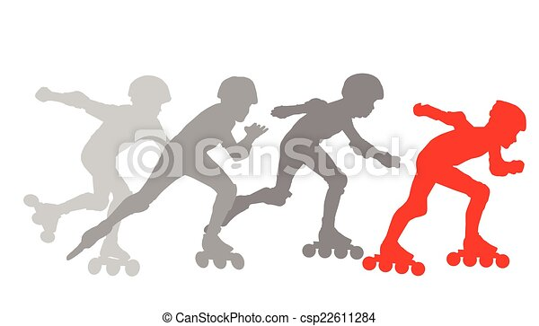 Roller skating silhouettes vector background concept - csp22611284