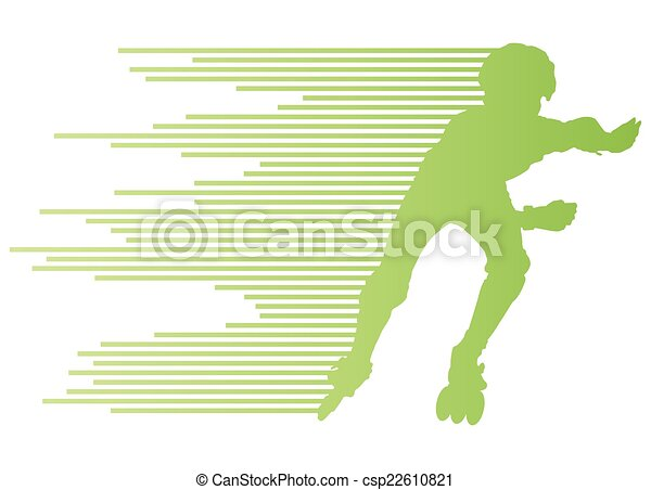 Roller skating silhouettes vector background winner concept - csp22610821
