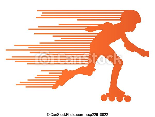 Roller skating silhouettes vector background winner concept - csp22610822