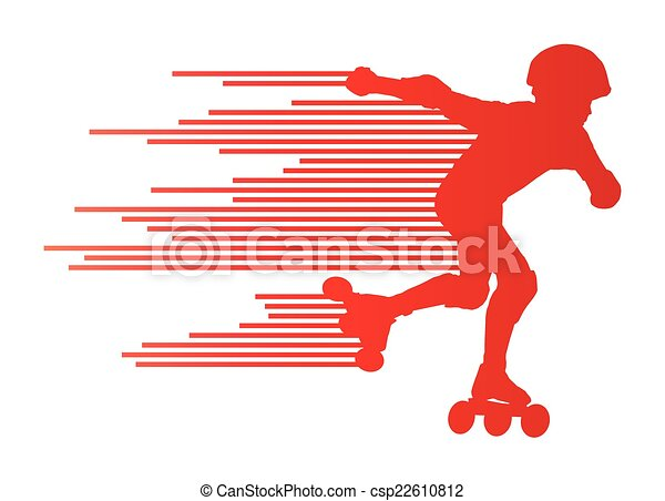 Roller skating silhouettes vector background winner concept - csp22610812
