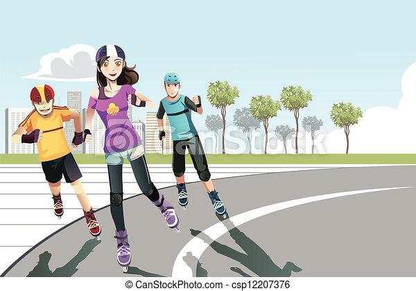 Rollerblading teenagers - csp12207376
