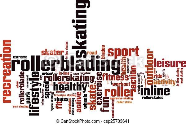Rollerblading word cloud - csp25733641