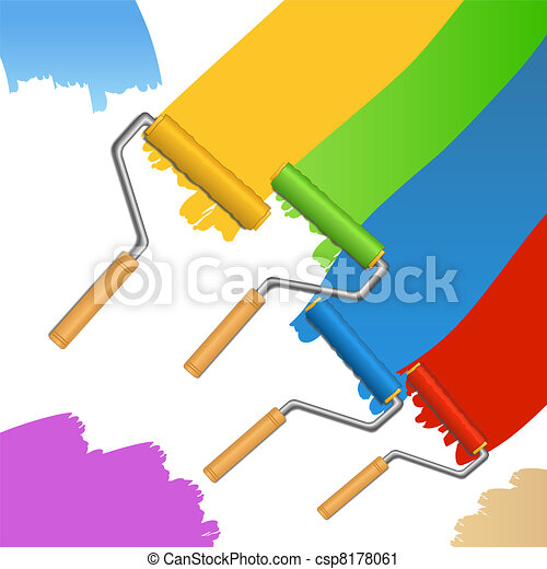 Rollers and paint strokes - csp8178061