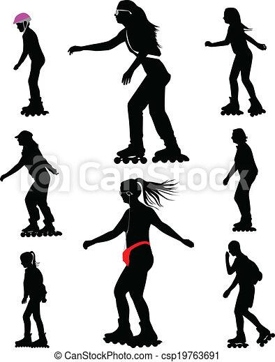 rollerskating silhouette vector - csp19763691